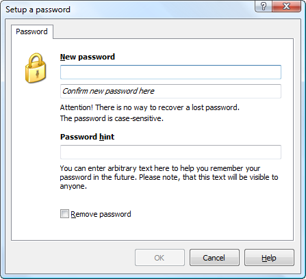 Change or remove outline password using this dialog.