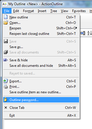 Use File|Outline password... menu item to set or change a password for the outline.