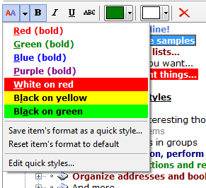 Select quick style to apply with the toolbar menu in ActionOutline