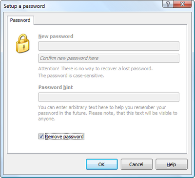 Check Remove password option to remove password from the outline. Click to enlarge...