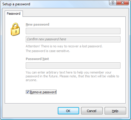 Check Remove password option to remove password from the outline.