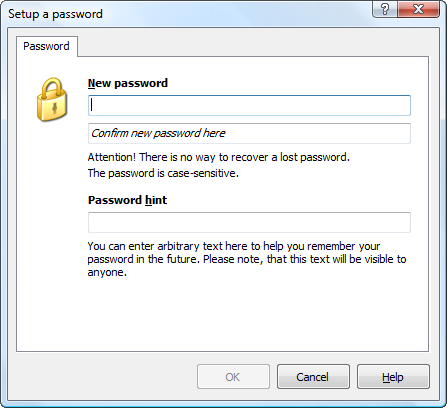 Enter a new password for the outline. In addition, you can specify an optional password hint.