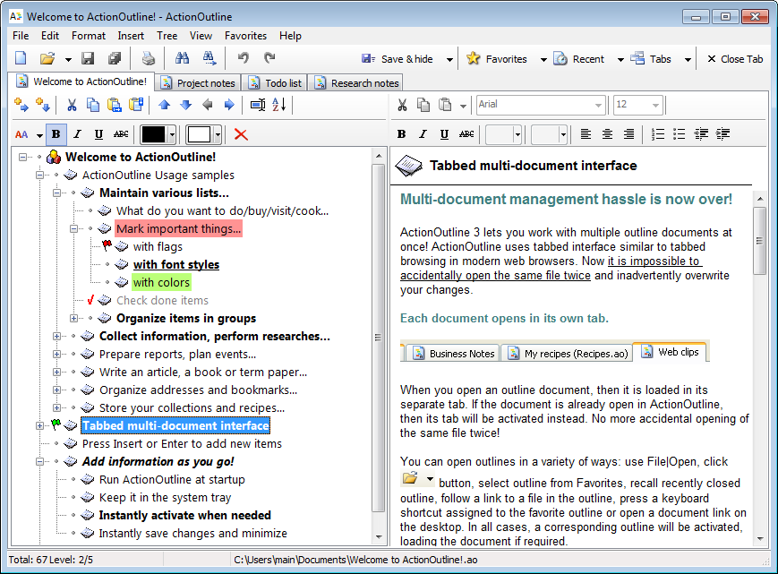 Click to view ActionOutline Lite 3.4 screenshot