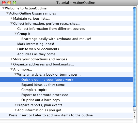 ActionOutline for Mac